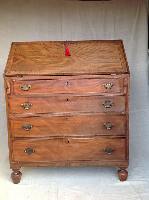 Antique Victorian Walnut Bureau with Key