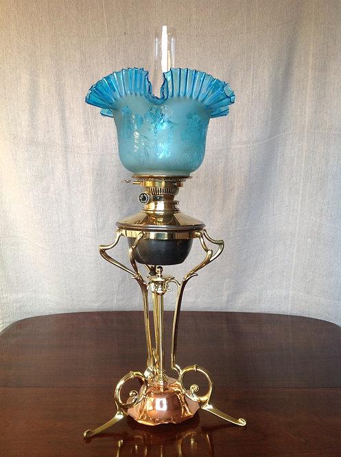 Art Nouveau Samuel S Messenger's (c 1890) Oil Lamp