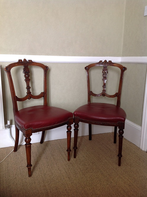 Victorian (c 1860) Pair of Mahogany Carved Chairs