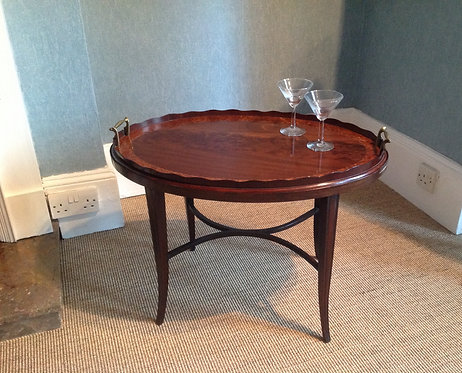 Late 19th Century Large Oval Tray on Stand