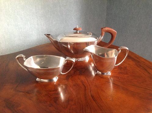 Art Deco Design Silver Plated Three Piece Tea Set