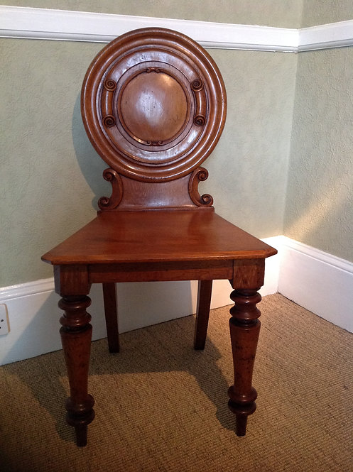Antique Victorian ( C 1860) Oak Hall Chair