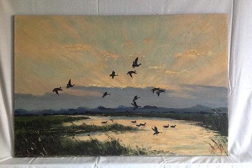 "Elystra Oil on Canvas ""Ducks In Flight at Sunset"""