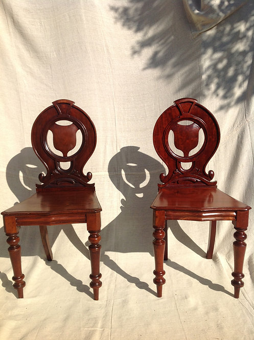Pair of Victorian (c1850) Mahogany Hall Chairs