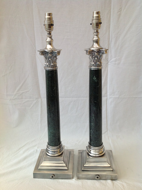 Regency Style Silver Plated and Green Marble Lamps