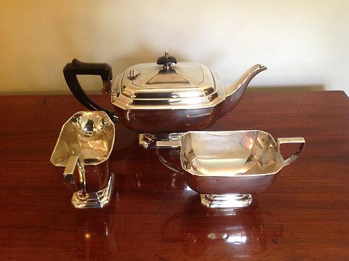 Art Deco Silver Plated Three Piece Tea Set
