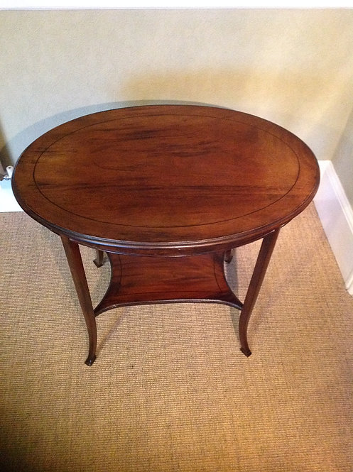 Edwardian Oval Mahogany Two Tier Occasional Table