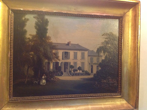 19th C House with Blue Shutters Oil Painting