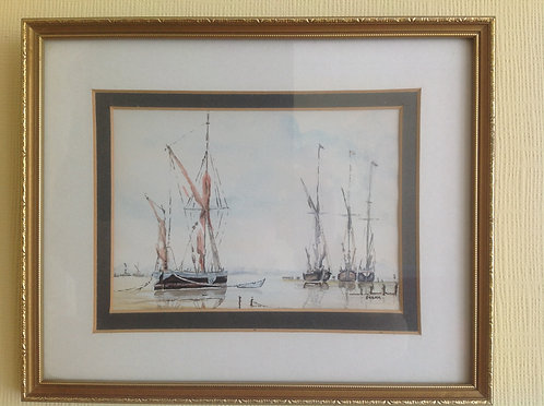 """"""" Study of Barges"""" Watercolour signed Debra"""