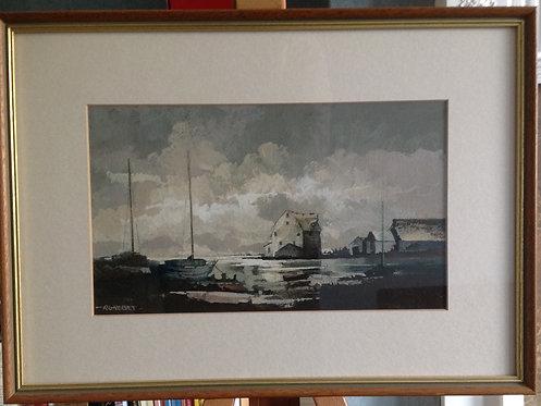 "R G Neeves "" The Tide Mill, Woodbridge"" Gouache"