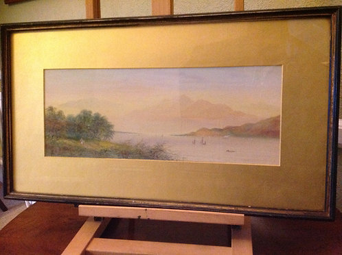 "M.D. Ansell 19th C Watercolour ""Loch Scene"