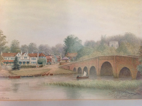 """Alfred S Watson """"Sonning on Thames"""" 1914 signed"""
