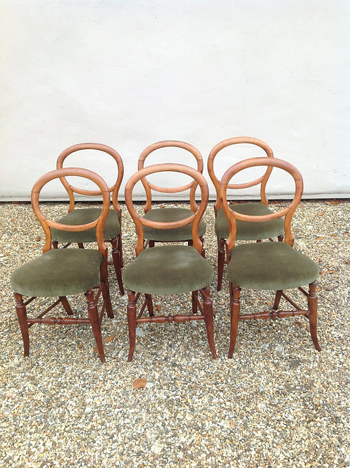 Victorian Set of Six Mahogany Balloon Back Chairs