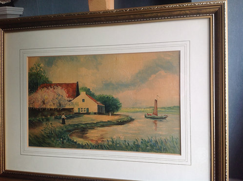 Oil on Board Study of a Farm House by the River
