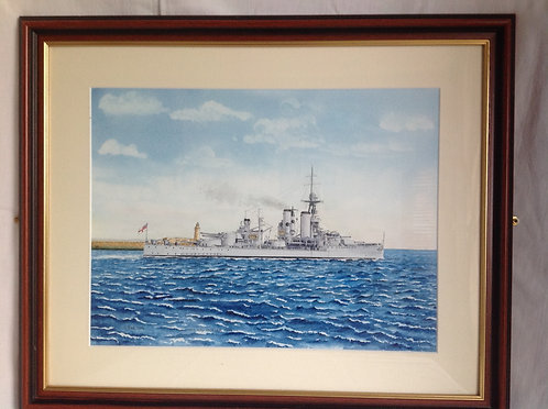 "Cyril Print Watercolour ""HMS King George V, 1920"