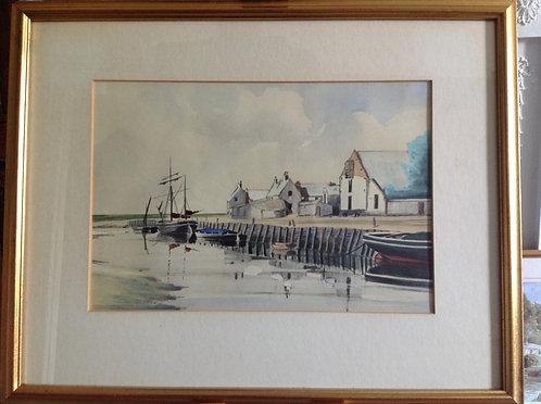 "19th C Watercolour ""Blakeney Quay"""