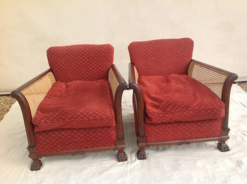 Victorian Mahogany Bergere Arm Chairs