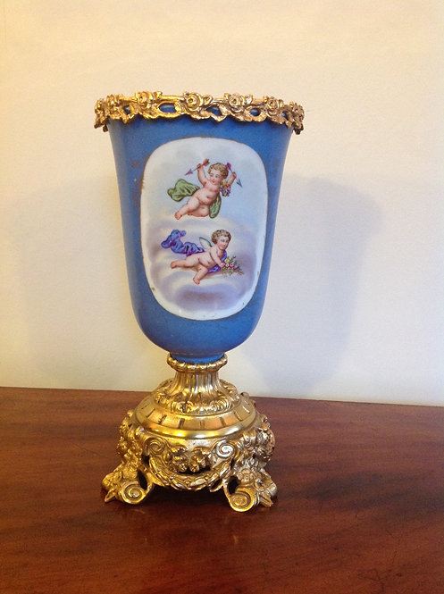 19th C French Blue Porcelain Urn