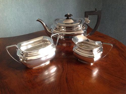 Antique Silver Plate Three Piece Tea Set Marked LB