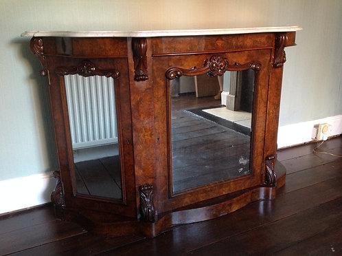 Antique Victorian Burr Walnut Credenza Marble Top
