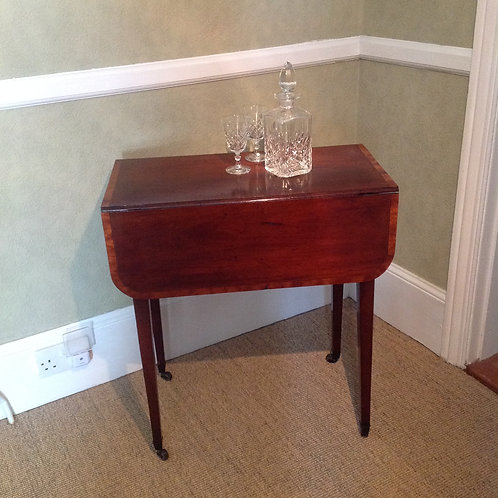 Antique George III (c 1780) Mahogany Cross Banded Pembroke Table