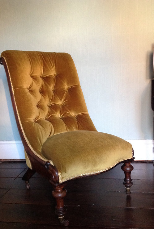 Victorian Mahogany Buttoned Back Nursing Chair