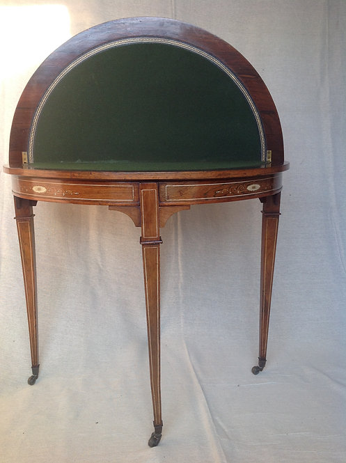 Victorian Rosewood & Inlaid Demi Lune Card Table