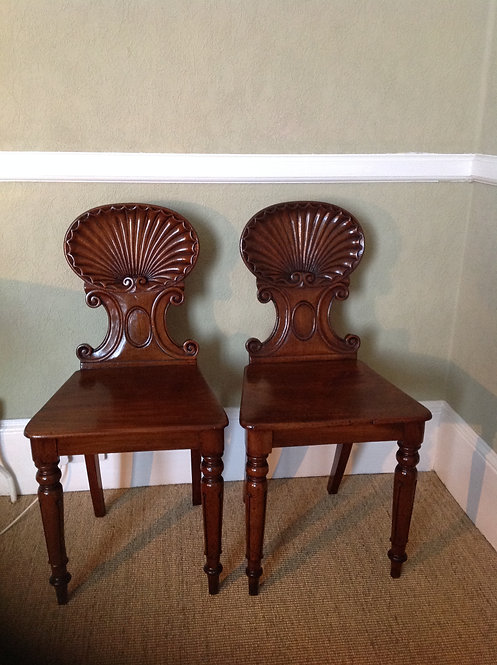A Pair of Victorian (c 1840) Mahogany Hall Chairs