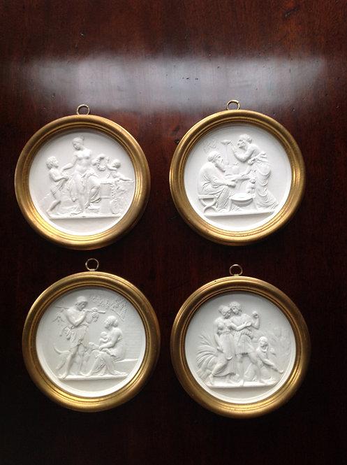 Royal Copenhagen Four Relief-Moulded Plaques