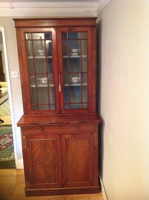 Antique 19th C (c 1890) Mahogany Glazed Bookcase Display Unit
