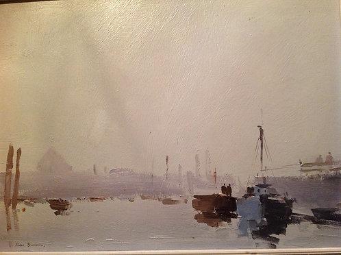 """Peter Burman ( b 1950) """"Suffolk Harbour"""" Oil"""
