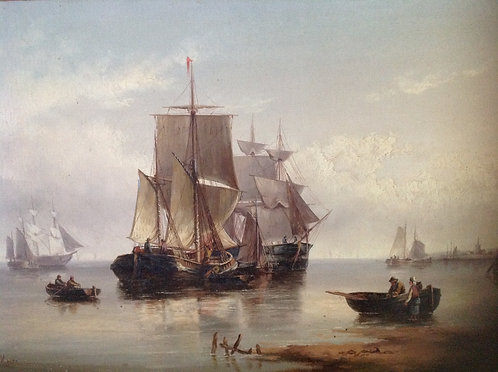 """Henry Moore RA RWS """"Fishing Vessels"""" Oil on Canvas"""