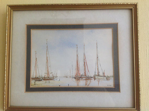 """ Barges at Harbour"" Watercolour signed Debra"