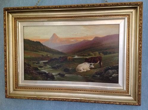 "J D Morris 19th C Oil on Canvas "" Cattle Grazing"""