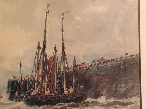 "Thomas Bush Hardy RA ""Leaving Harbour"" Watercolour"