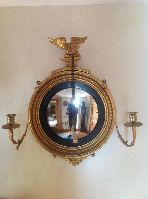Regency (c 1815) Gilded Girandole Convex Mirror
