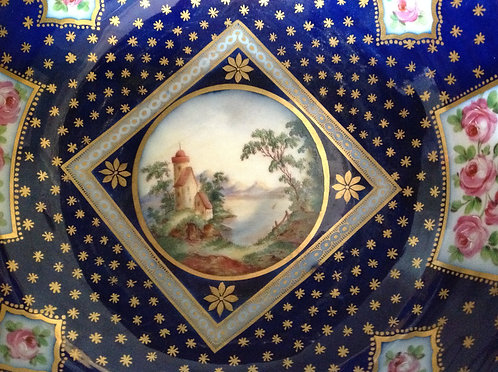 Continental 19th C Blue Bowl, Hand Painted Scene