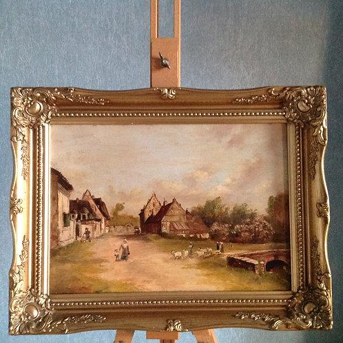 """""""Village Scene"""", 19th Century ,Oil On Canvas"""