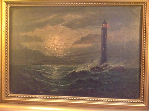 "19th C ""Study of the Lighthouse"" by Wallis"