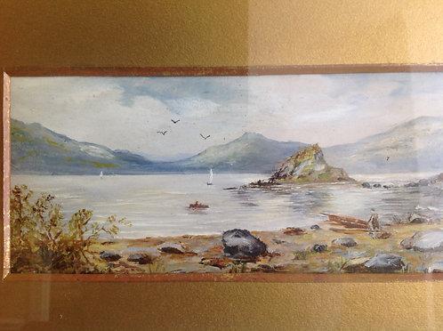 19th Century Victorian Watercolour of a Lake Scene