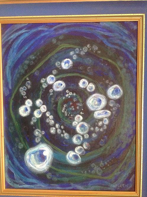 """J Hellen , Contemporary, Oil on Board """"Blue"""""""