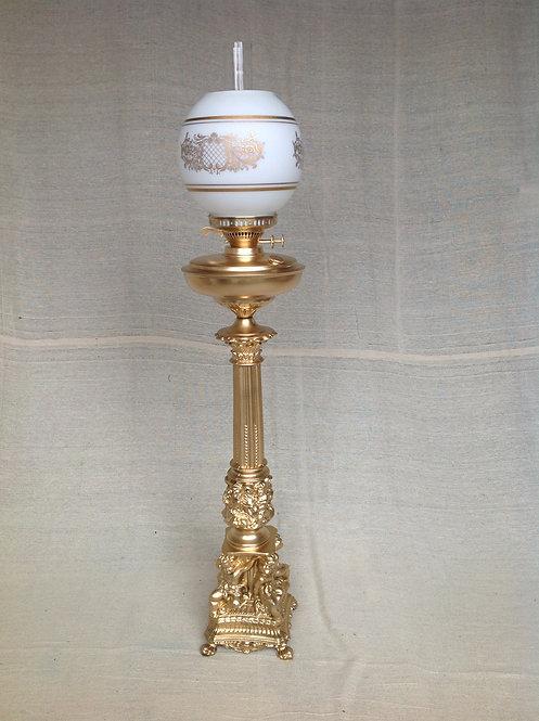 A Gilt Metal Base Oil Lamp