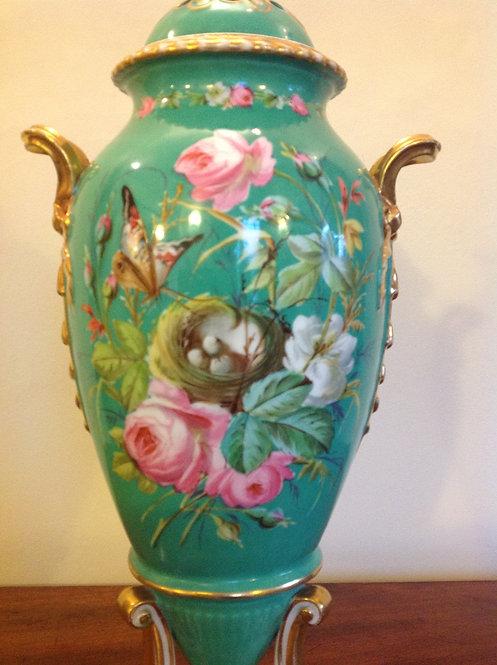 19th C Royal Green and Gilt Porcelain Urn