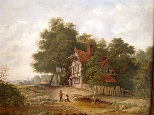 "19th C English School ""The Inn"" Oil on Canvas"
