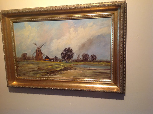 """The Wind Mill"" oil on Board by G.E. Williams"