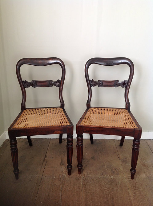 Pair of Victorian (c 1860) Cane Seated Hall Chairs