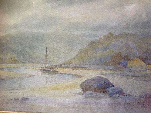 """Late 19th C Watercolour """"Cornish Coastland"""""""