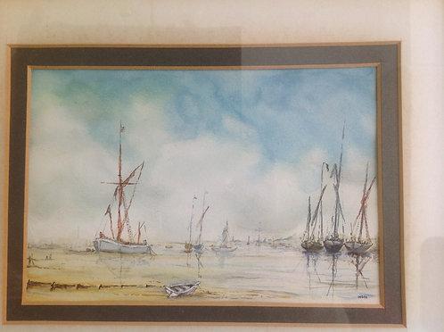 """""""Barges at Harbour against Blue Sky"""" signed Debra"""