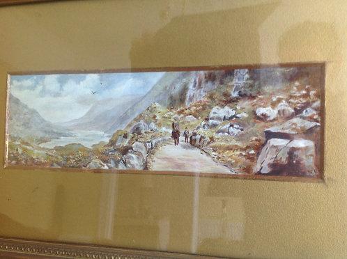19th C Victorian Watercolour of a Mountain Path