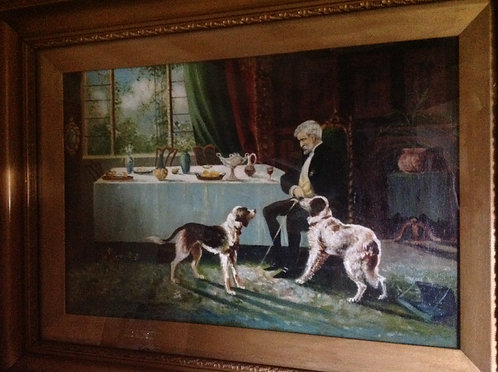 "G. Lloyd Oil on Canvas ""Domestic Scene"" Signed"